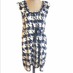 ESLEY Navy Blue Cream Sleeveless Tunic Dress -M